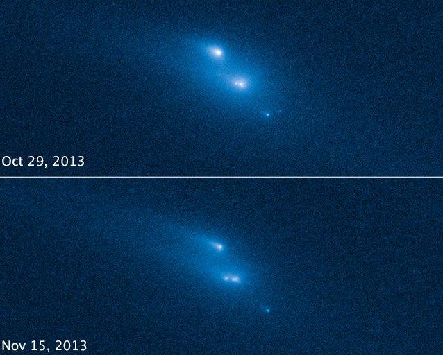 Rozpad P2013 R3 pomiędzy końcem października a połową listopada / Credits - NASA, ESA