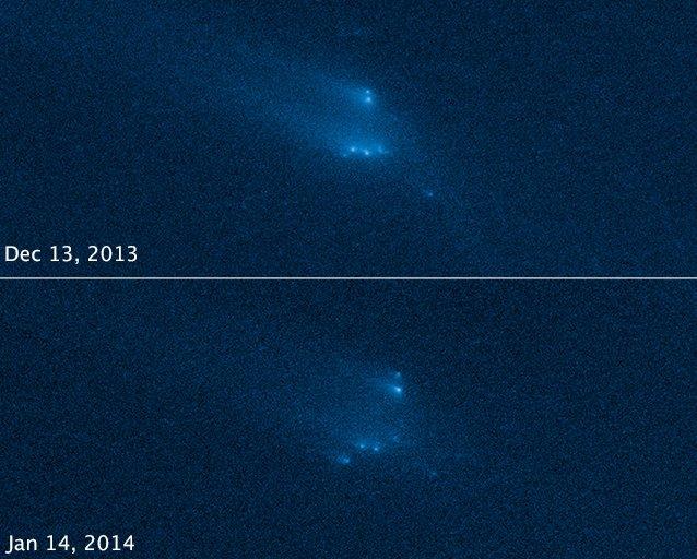 Rozpad P/2013 R3 pomiędzy grudniem a styczniem / Credits - NASA, ESA, D. Jewitt