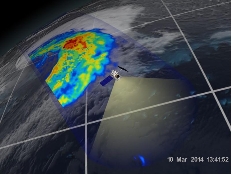 Ten sam cyklon zobrazowany 10 marca. Kolor czerowny - intensyne opady deszczu. Niebieskie i żółte - opady o mniejszej intensywności. Credits - NASA, JAXA
