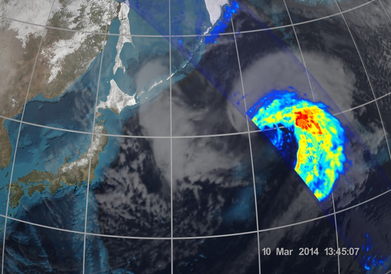 Cyklon jaki utworzył się 8 marca niedaleko Okinawy, zobrazowany przez GPM / Credits - NASA, JAXA
