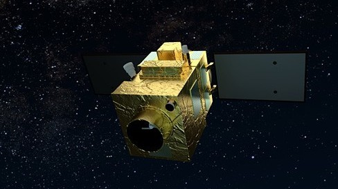 Satelita obserwacji Peru na tle gwiazd - wizualizacja