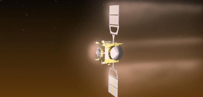 Wizualizacja hamowania atmosferycznego Venus Express zaplanowanego na przełom czerwca i lipca 2014. Zmniejszy ona wysokość orbity z 200 na 130 kilometrów / Credits: ESA/C. Carreau