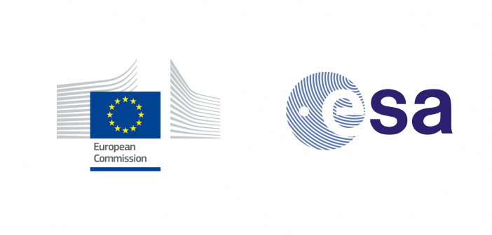 Loga Komisji Europejskiej i ESA / Credits: Komisja Europejska, ESA