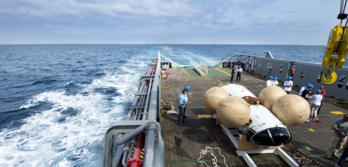 Prototyp IXV na pokładzie statku Nos Aries. Wybrzeże Toskanii, 23 czerwca 2014 / Credits: NERI - Livorno (I)
