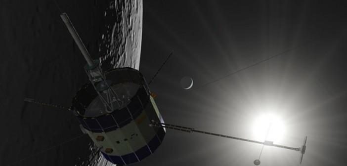 Wizualizacja przelotu ISEE-3/ICE nad powierzchnią Księżyca / Credits: Skycorp Inc.
