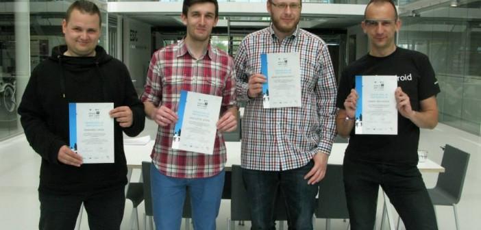 K. Stopa i A. Wodarkiewicz wraz z programistami z Berlina w BIC ESA / Credits: CBK PAN