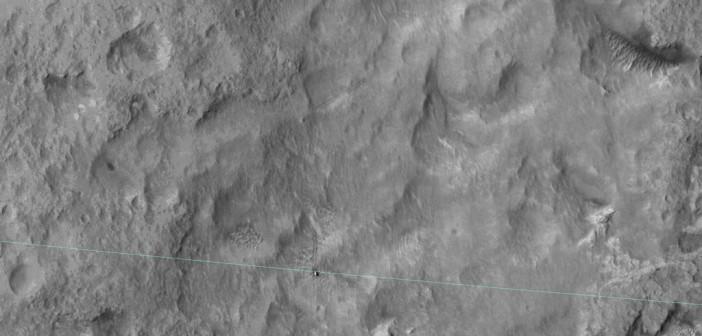 MSL przekracza swoją elipsę lądowania - 27 czerwca 2014. Zdjęcie wykonane przez instrument HIRISE sondy MRO / Credits - NASA/JPL-Caltech/Univ. of Arizona