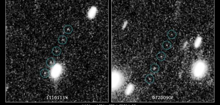 Potencjalni kandydaci znalezieni przez Teleskop Hubble dla misji New Horizons / Credits: NASA, ESA