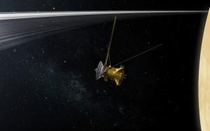 Cassini między Saturnem a jego pierścieniami - wizualizacja / Credits: NASA-JPL