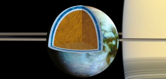 Wizualizacja warstwy wodnej na Tytanie / Credits - NASA