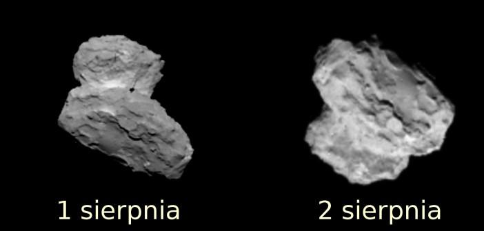 Dwa obrazy komety 67P uzyskane w dniach 1 i 2 sierpnia 2014 / Credits - ESA