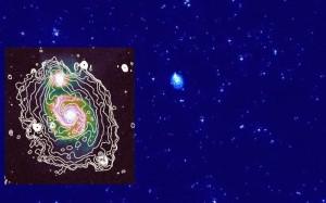 Mapa radiowa galaktyki M51 wykonana przez LOFAR na częstotliwości 150 MHz. / Credit: © David Mulcahy et al., Astronomy & Astrophysics