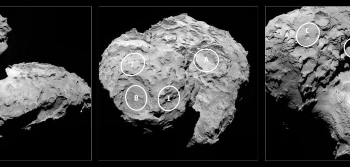 Pięć miejsc-kandydatów do lądowania Philae / Credit: ESA/Rosetta/MPS for OSIRIS Team MPS/UPD/LAM/IAA/SSO/INTA/UPM/DASP/IDA
