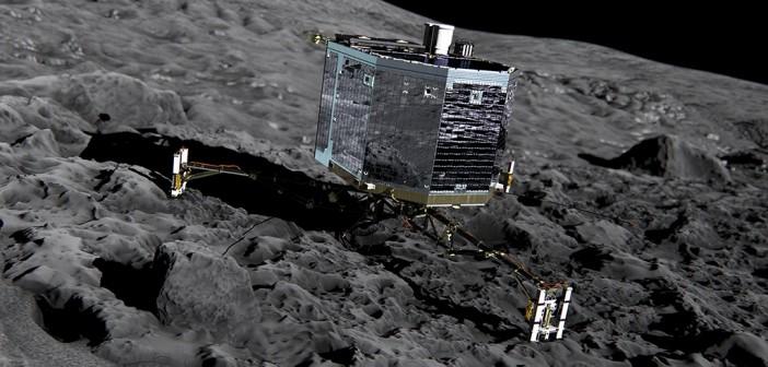 Philae na powierzchni komety 67P - wizualizacja / Credit: ESA/ATG medialab