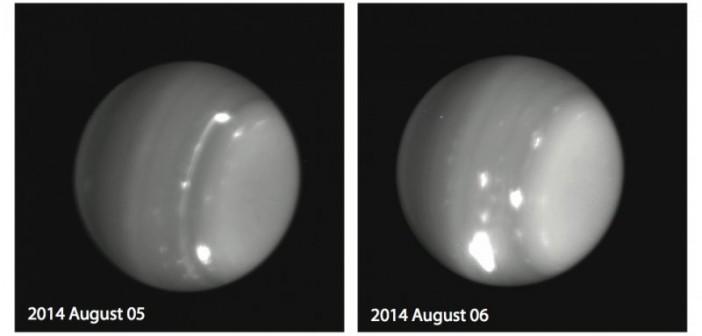 Obserwacje Urana na paśmie podczerwieni z 5 i 6 sierpnia 2014 / Credits - Keck, Imke de Pater (UC Berkeley), Larry Sromovosky and Pat Fry (U. Wisconsin), and Heidi Hammel (AURA)