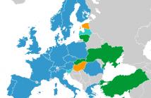 Państwa ESA (ciemny niebieski), Węgry i Estonia (blisko ESA, kolor pomarańczowy), współpracujące (jasny niebieski) i stowarzyszone (zielony) / Credits - Wikipedia Commons