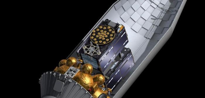 Przekrój przez górną część rakiety Sojuz ST-B, w którym widać dwa satelity Galileo oraz stopień Fregat-MT / Credits - ESA