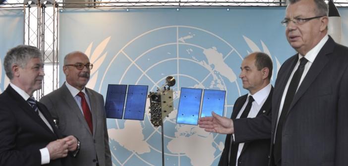 Anatolij Szilow (skrajnie po lewej) i dyrektor generalny biura UN w Wiedniu Jurij Fedotow (skrajnie po prawej) / Credit: ONZ