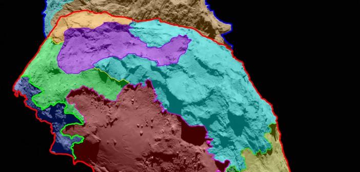 Wstępna, kolorowa mapa morfologiczna komety 67P / Credits: ESA/Rosetta/MPS for OSIRIS Team MPS/UPD/LAM/IAA/SSO/INTA/UPM/DASP/IDA