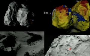 Cztery różne ujęcia głównego lądowiska Philae, obszaru J. Widoczna jest cała elipsa miejsca lądowania lub jej środek, oznaczony krzyżykiem / Credit: ESA