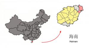 Położenie okręgu Wenchang względem wyspy Hainan i Chin kontynentalnych / Credit: Croquant, CC-BY-3.0