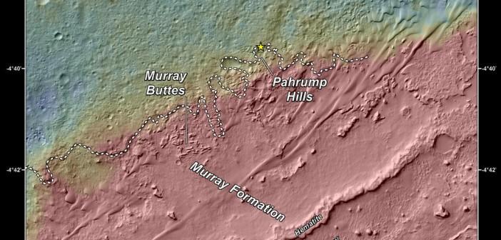 Mapa granicy pomiędzy wnętrzem krateru Gale a podnóżem Mt Sharp / Credits - NASA/JPL-Caltech/Univ. of Arizona