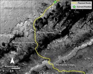 Planowana przyszła trasa Curiosity / Credits - NASA/JPL-Caltech