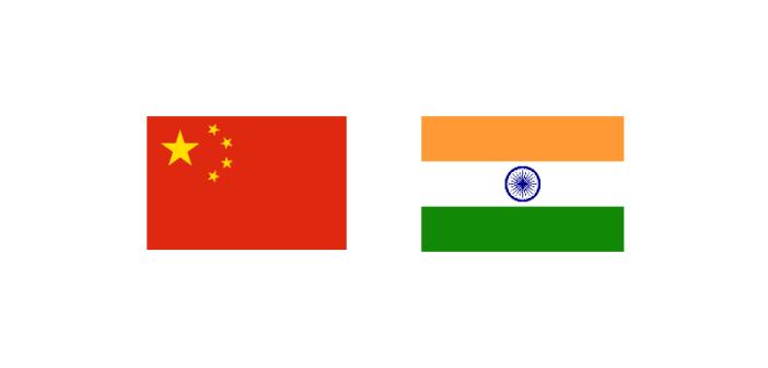 Flagi Chińskiej Republiki Ludowej i Republiki Indii