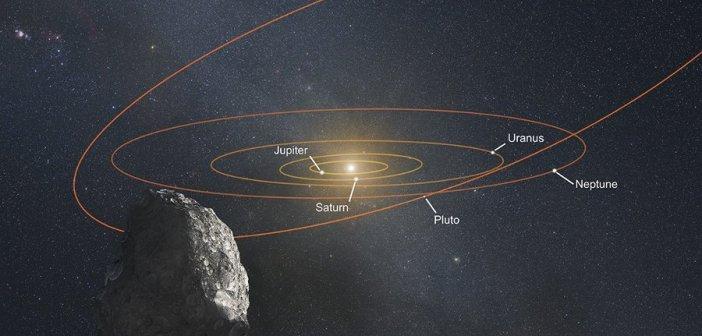 Artystyczna wizja widoku z PT1 na nasz Układ Słoneczny / Credits - NASA, ESA, and G. Bacon (STScI)