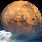 Kometa C/2013 A1 blisko Marsa - wizja artystyczna / Credits - NASA
