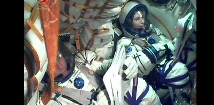 Załoga Sojuza TMA-15M podczas startu, 23 listopada 2014