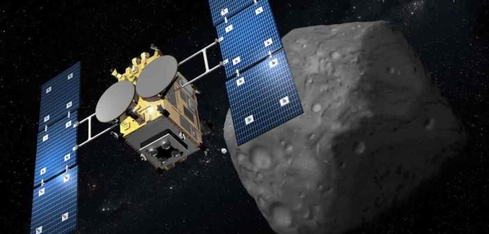Hayabusa2 przy planetoidzie - wizja artystyczna / Credit: JAXA