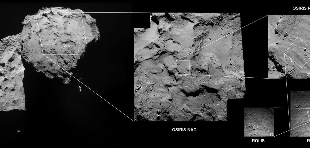 Seria obrazów z NavCam i ROLIS wskazująca miejsce pierwszego lądowania. Końcowe miejsce lądowania może być inne.