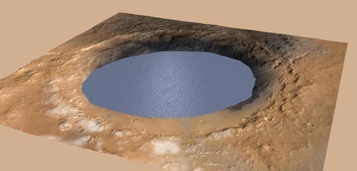 Możliwy zasięg jeziora we wnętrzu krateru Gale w czasach, gdy Mt Sharp jeszcze nie istniało / Credits - NASA/JPL-Caltech/ESA/DLR/FU Berlin/MSSS