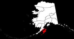 Okręg Wyspa Kodiak, złożony przede wszystkim z największej wyspy archipelagu Kodiak, na mapie stanu Alaska