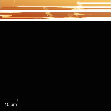 Niepełny, przerwany skan tarczy instrumentu MIDAS sondy Rosetta po ekspozycji w dniach 9-14 listopada 2014