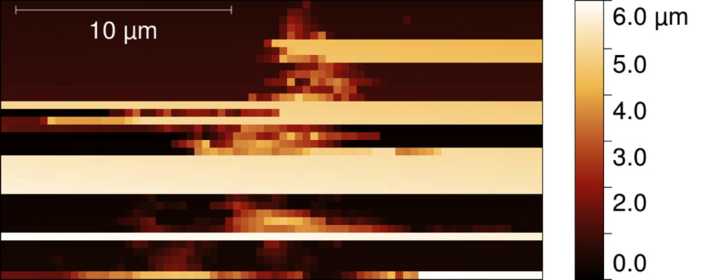 Obraz pierwszej drobiny kometarnej zarejestrowanej przez MIDAS-a. Zbliżenie fragmentu skanu tarczy instrumentu MIDAS sondy Rosetta po ekspozycji w dniach 9-14 listopada 2014
