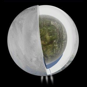 Potencjalny wygląd oceanu skrytego pod pokrywą lodową Enceladusa / Credits - NASA
