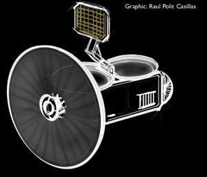 Szkic sondy, która zebrałaby próbki materii z gejzerów Enceladusa / Credits - Raul Polit Casilas