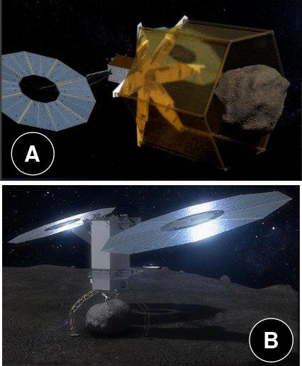 Dwie koncepcje misji ARM: przechwycenie małej planetoidy (A) i przechwycenie głazu z powierzchni większej planetoidy (B) / Credits - NASA