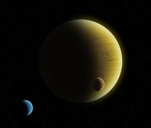 Potencjalny wygląd HD 145934 b - gazowy gigant z dwoma dużymi księżycami, z których jeden jest w całości pokryty oceanem / Credits - K. Kanawka, kosmonauta.net