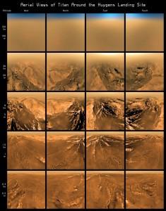 Ujęcia z lądownika w różnych momentach opadania na powierzchnię Tytana / Credits: ESA