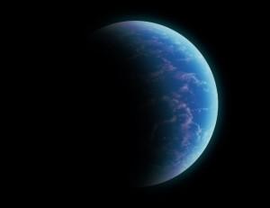Możliwy wygląd Kepler-442b - oceaniczna super-Ziemia / Credits - K. Kanawka, kosmonauta.net