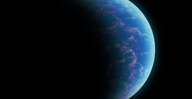 Możliwy wygląd Kepler-442b o masie 2,3 masy Ziemi - oceaniczna super-Ziemia / Credits - K. Kanawka, kosmonauta.net