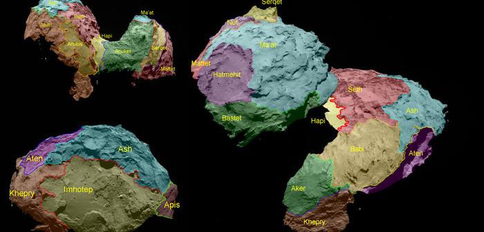 Regiony wyróżnione na powierzchni komety 67P dzięki obserwacjom sondy Rosetta