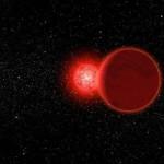 Wizja artystyczna układu WISE 0720−0846 podczas przelotu niedaleko Słońca (jasna gwiazda w tle) / Credits - Michael Osadciw/University of Rochester