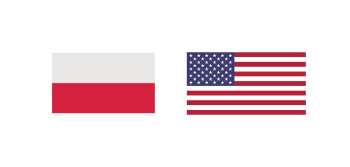 Flaga Republiki Polskiej i Stanów Zjednoczonych Ameryki