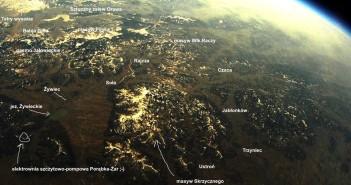 Widok z misji SEBA-9 z zaznaczonymi miejscami w Polsce / Credits - Tomasz Brol