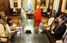Prezydent Chin Xi Jinping podczas pierwszej wizyty w Argentynie, goszczony przez prezydent Argentyny Cristinę Fernández w pałacu prezydenckim, 18 lipca 2014