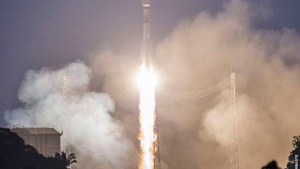 Start Sojuza ST-B (VS11) z satelitami Galileo, 27 marca 2015 / Credit: ESA/CNES/ARIANESPACE-Service Optique CSG